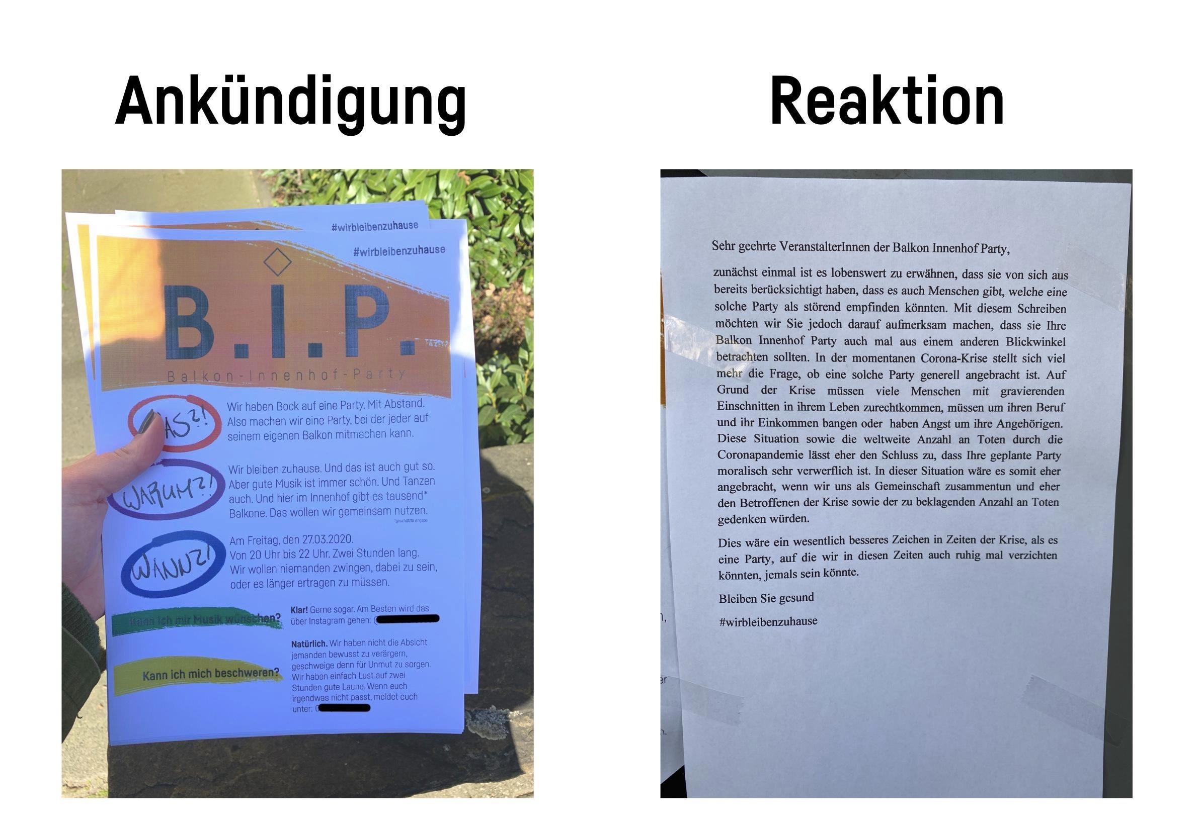 Vergleich Ankündigung Balkonparty und Reaktion eines anoymen Nachbarn